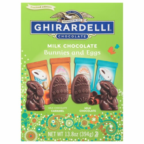Ghirardelli Premium Chocolate Bunnies and Eggs Perspective: front