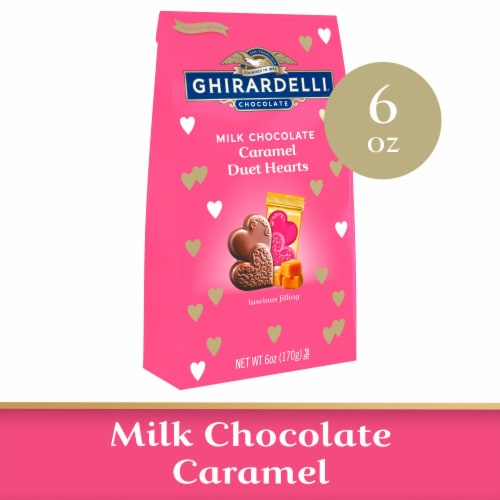 Ghirardelli Valentine Milk Chocolate Caramel Duet Hearts Perspective: front