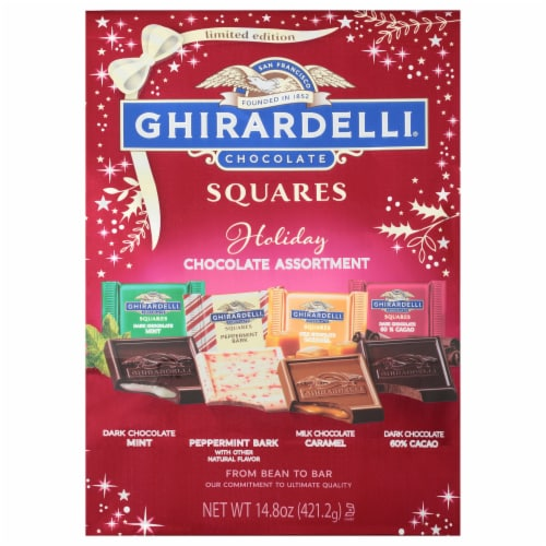 Ghirardelli Holiday Chocolate Assortment Squares Perspective: front
