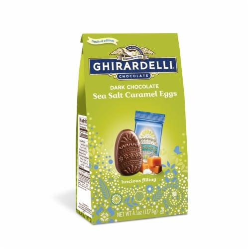 Ghirardelli Dark Chocolate Sea Salt Caramel Eggs Perspective: front