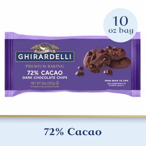 Ghirardelli 72% Cacoa Dark Chocolate Baking Chips Perspective: front