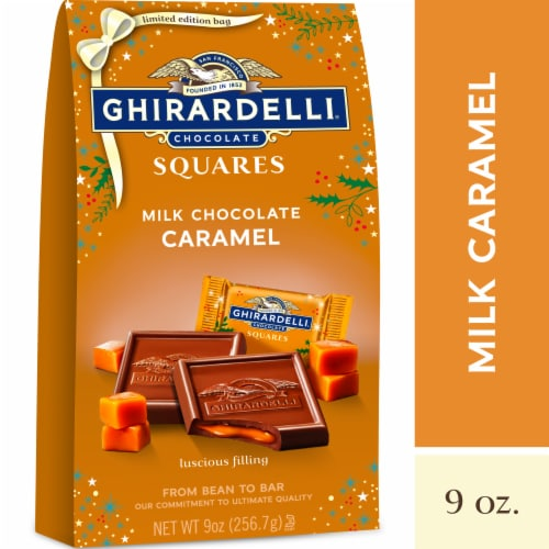 Ghirardelli Holiday Milk Chocolate Caramel Squares Perspective: front