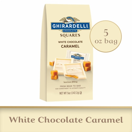 Ghirardelli White Chocolate with Caramel Filling Squares Perspective: front