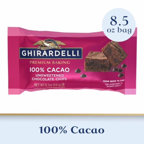 Ghirardelli 100% Cacao Unsweetened Chocolate Chips Perspective: front