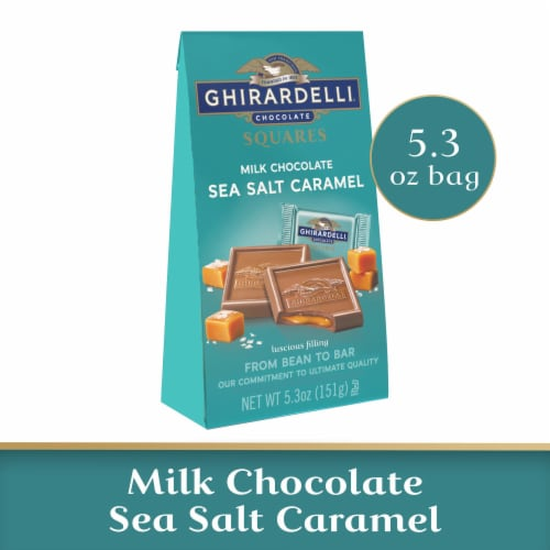 Ghirardelli Milk Chocolate Sea Salt Caramel Squares Perspective: front