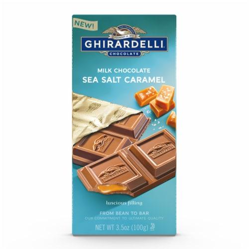 Ghirardelli Sea Salt Caramel Milk Chocolate Bar Perspective: front