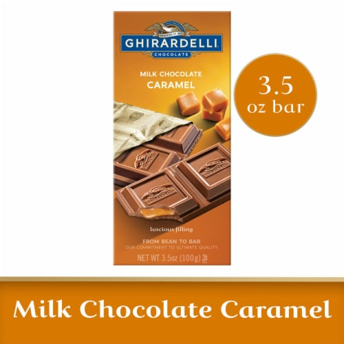 Ghirardelli Milk Chocolate with Caramel Filling Bar Perspective: front