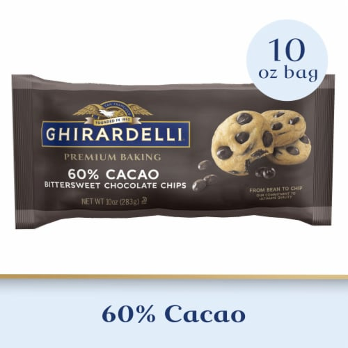 Ghirardelli 60% Cacao Bittersweet Chocolate Premium Baking Chips Perspective: front