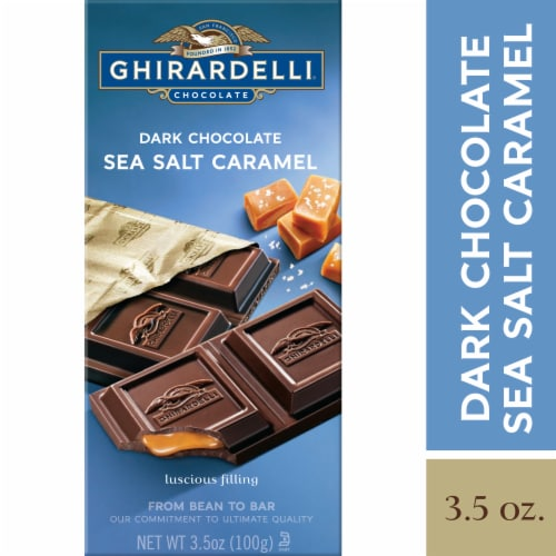 Ghirardelli Dark Chocolate with Sea Salt Caramel Filling Bar Perspective: front