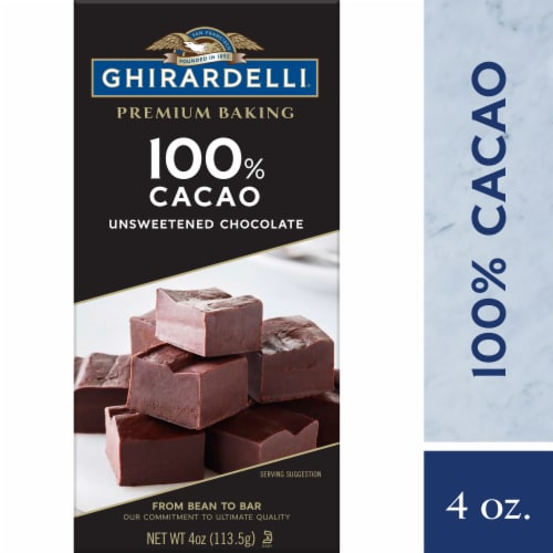 Ghirardelli Premium 100% Cacao Unsweetened Baking Chocolate Bar Perspective: front