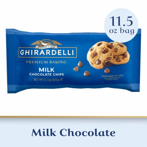 Ghirardelli Milk Chocolate Premium Baking Chips Perspective: front