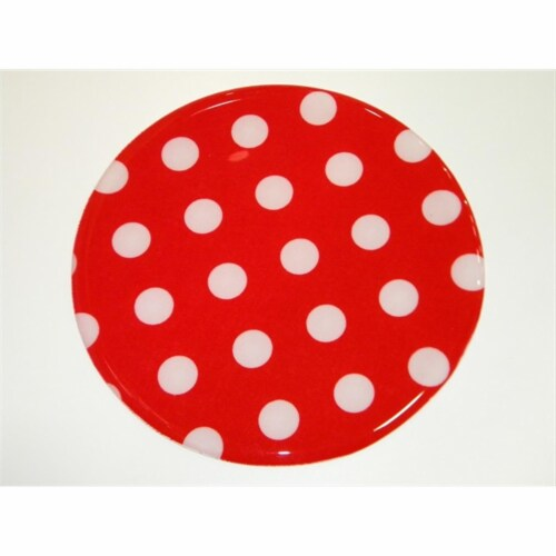 Andreas JO-161 Red or White Dots Round Silicone Mat Jar Opener - Pack of 3 trivets Perspective: front