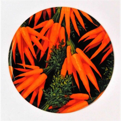 Andreas JO-211 Carrots Round Silicone Mat Jar Opener - Pack of 3 trivets Perspective: front