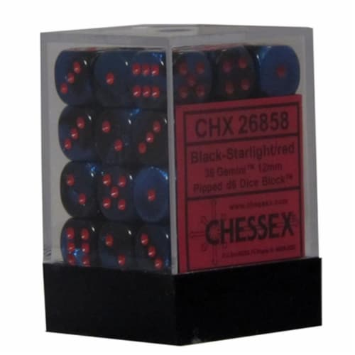 Hasbro CHX26858 Gemini 7 12mm D6 Black Starlight With Red Dice Perspective: front