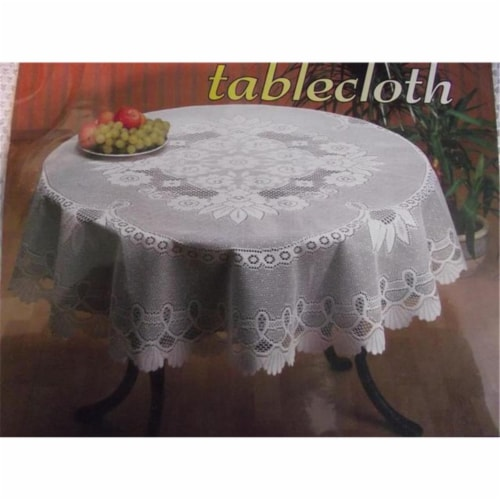 Tapestry Trading 558W68100 60 x 100 in. European Lace Table Cloth, White Perspective: front