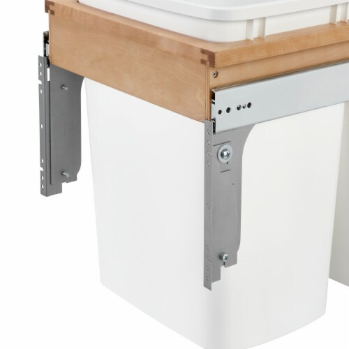 Rev A Shelf 4WCTM-18DM2 35 qt. Double Top Mount Waste Container  Natural - 1.5 Faceframe'' Perspective: front