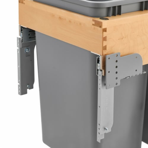 Rev A Shelf 4WCTM-RM-2150DM-2 50 qt. Double Top Mount Waste Container with Rev-A-Motion  Natu Perspective: front