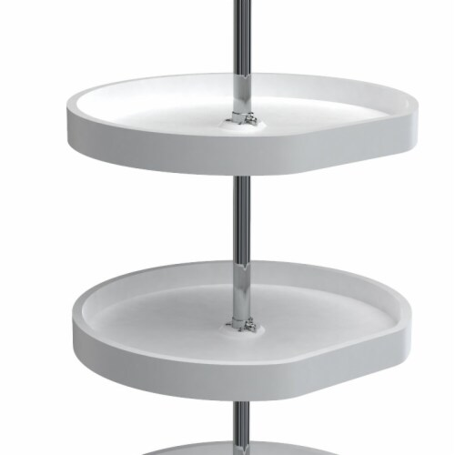 Rev A Shelf 7013-20-11-526 20 in. Polymer D-Shaped 3-Shelf Lazy Susans  White Perspective: front
