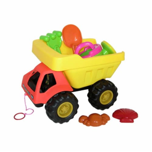 Sunshine Trading BT-388 Dump Truck Sand Toy - 6 Piece Set Perspective: front