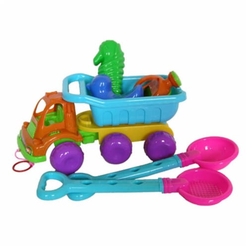 Sunshine Trading YS-1214 Dump Truck Sand Toy - 7 Piece Set Perspective: front