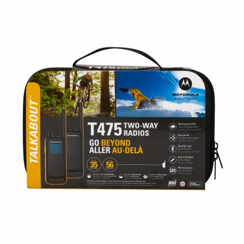 Motorola Solutions Talkabout T475 Two-Way Radios - Black/Yellow Perspective: front