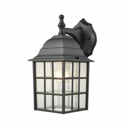 Holton 1-Light Outdoor Wall Sconce in Satin Black with Seedy Glass Perspective: front