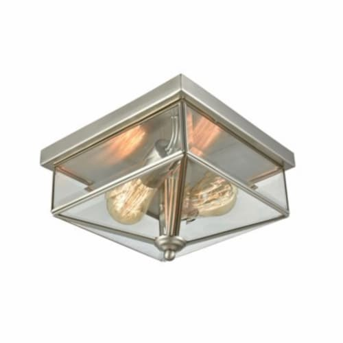 Lankford 2-Light Outdoor Flush in Satin Nickel with Clear Glass Perspective: front