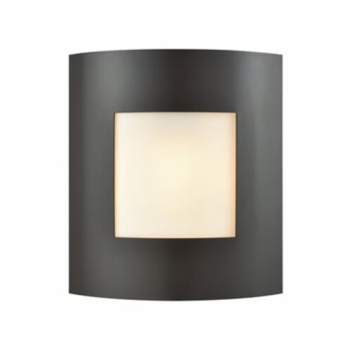 Bella 1-Light Outdoor Wall Sconce in Oil Rubbed Bronze with White Glass Perspective: front