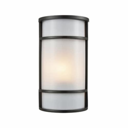 Bella 1-Light Outdoor Wall Sconce in Oil Rubbed Bronze with a White Acrylic Diffuser Perspective: front