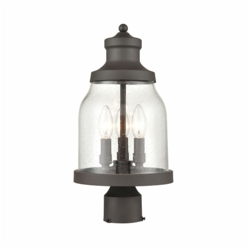 Renford 3-Light Outdoor Post Mount in Architectural Bronze with Seedy Glass Perspective: front