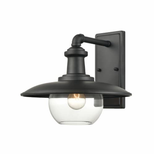 Jackson 1-Light Outdoor Sconce in Matte Black with Clear Glass Perspective: front