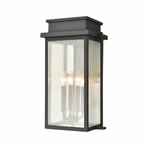 Braddock 4-Light Outdoor Sconce in Architectural Bronze with Seedy Glass Enclosure Perspective: front