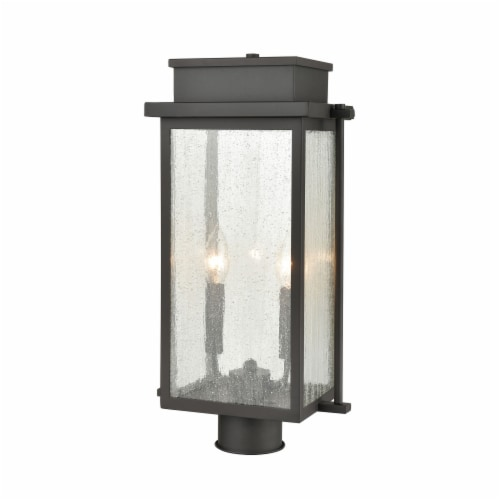 Braddock 2-Light Outdoor Post Mount in Architectural Bronze with Seedy Glass Enclosure Perspective: front