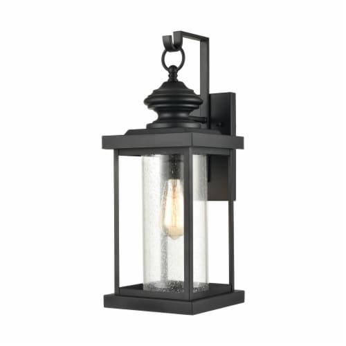Minersville 1-Light Outdoor Sconce in Matte Black with Antique Speckled Glass Perspective: front