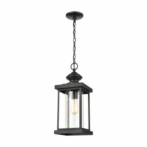 Minersville 1-Light Outdoor Pendant in Matte Black with Antique Speckled Glass Perspective: front