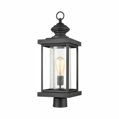 Minersville 1-Light Outdoor Post Mount in Matte Black with Antique Speckled Glass Perspective: front