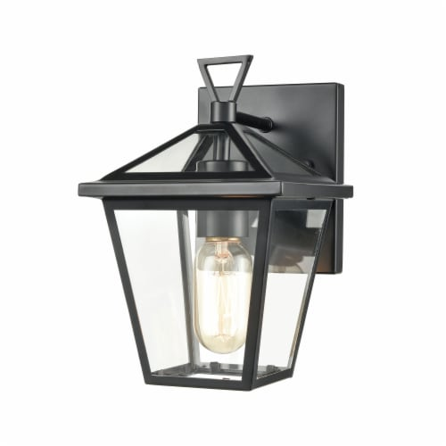 Main Street 1-Light Outdoor Sconce in Black with Clear Glass Enclosure Perspective: front