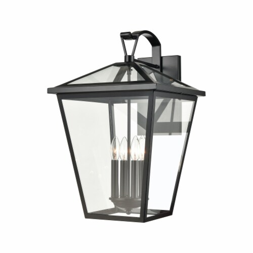 Main Street 4-Light Outdoor Sconce in Black with Clear Glass Enclosure Perspective: front