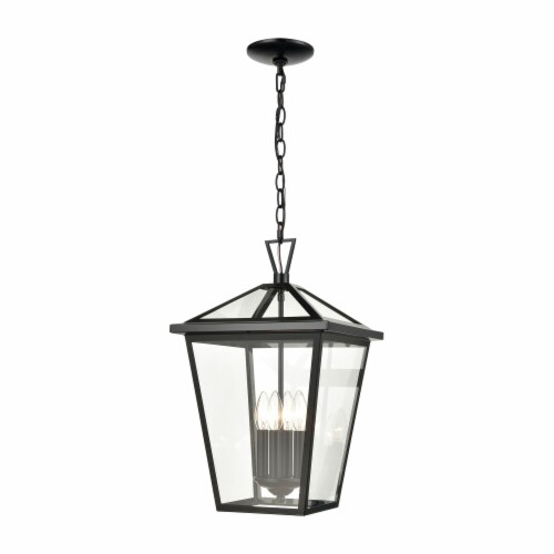 Main Street 4-Light Outdoor Pendant in Black with Clear Glass Enclosure Perspective: front