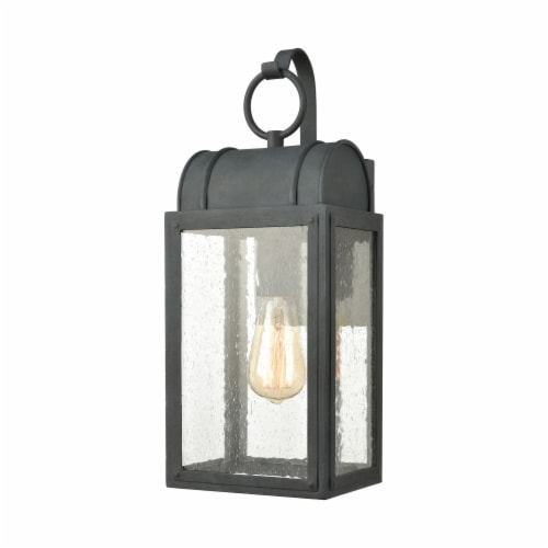Heritage Hills 1-Light Outdoor Sconce in Aged Zinc with Seedy Glass Enclosure Perspective: front