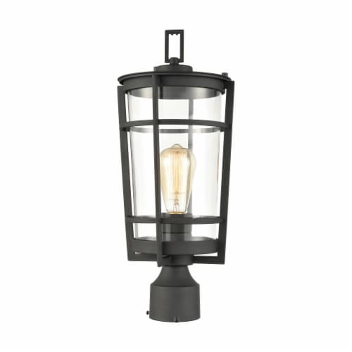 Crofton 1-Light Outdoor Post Mount in Charcoal with Clear Glass Perspective: front