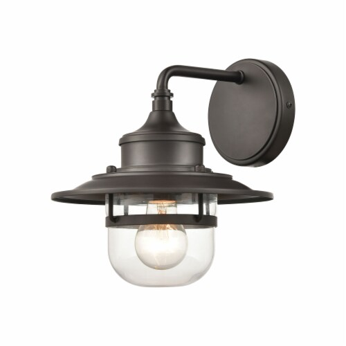 Renninger 1-Light Outdoor Sconce in Oil Rubbed Bronze with Clear Glass Perspective: front