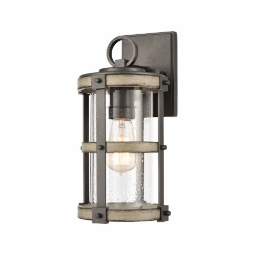 1-Light Outdoor Sconce in Anvil Iron and Distressed Antique Graywood with Seedy Glass Perspective: front