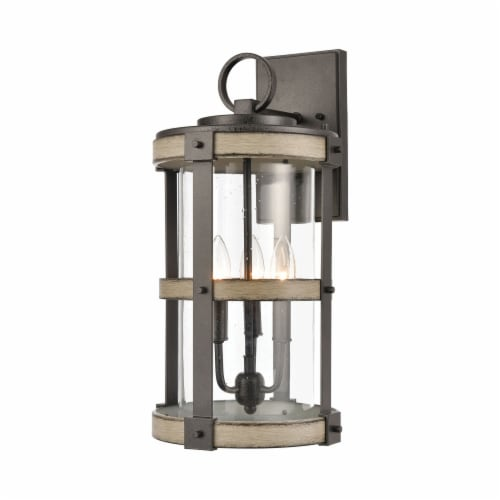 3-Light Outdoor Sconce in Anvil Iron and Distressed Antique Graywood with Seedy Glass Perspective: front