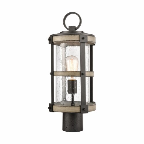 1-Light Outdoor Post Mount in Anvil Iron and Distressed Antique Graywood with Seedy Glass Perspective: front