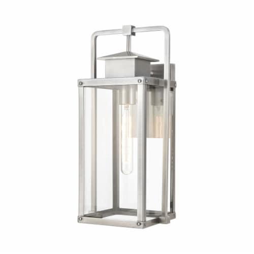 Crested Butte 1-Light Outdoor Sconce in Antique Brushed Aluminum with Clear Glass Enclosure Perspective: front