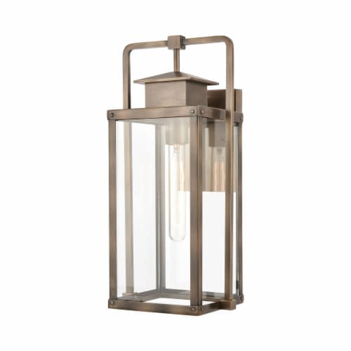 Crested Butte 1-Light Outdoor Sconce in Vintage Brass with Clear Glass Enclosure Perspective: front