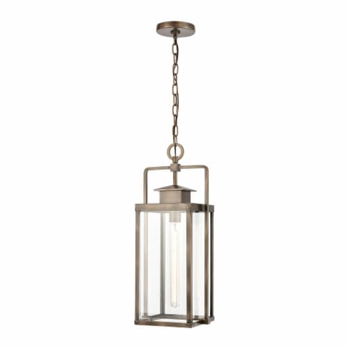 Crested Butte 1-Light Outdoor Pendant in Vintage Brass with Clear Glass Enclosure Perspective: front