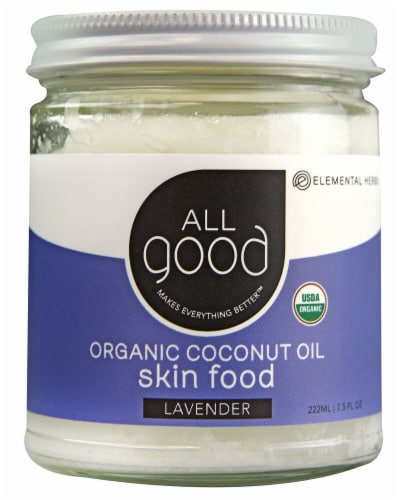 Elemental Herbs  All Good Organic Coconut Oil Skin Food Lavender Perspective: front