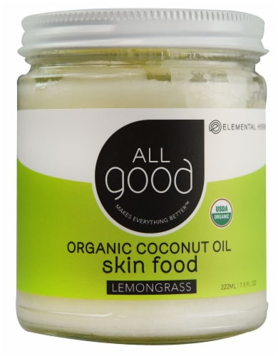 Elemental Herbs  All Good Organic Coconut Oil Skin Food Lemongrass Perspective: front